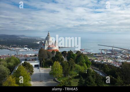 Santuário de Santa Luzia and the coast, Viana do Costelo, Norte, Portugal - Stock Photo