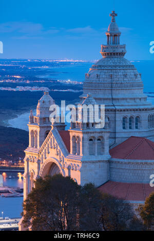 Santuário de Santa Luzia and the coast at dusk, Viana do Costelo, Norte, Portugal - Stock Photo