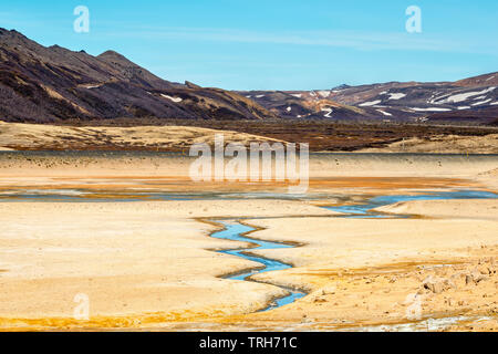 Brightlly coloured landscape in the highly active geothermal area at Námafjall (Hverir), near Lake Mývatn in north-east Iceland - Stock Photo