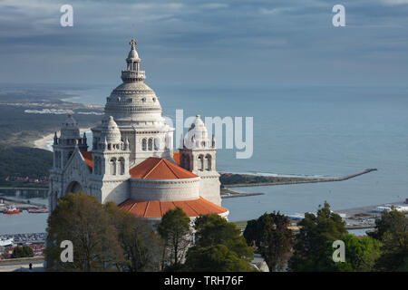 Santuário de Santa Luzia and the coast, Viana do Costelo, Norte, Portugal - Stock Photo