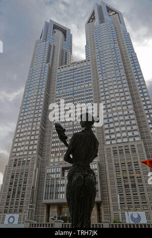 TOKYO, JAPAN, May 13, 2019 : Metropolitan governement building. The Greater Tokyo Area ranked as the most populous metropolitan area in the world.