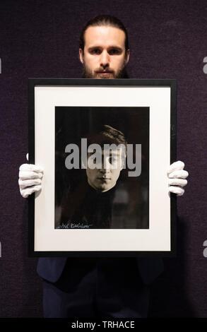 Bonhams, London, UK. 6th June 2019. Bonhams Entertainment Memorabilia sale preview. Astrid Kirchherr photographic portrait print of John Lennon, 1962, signed by Kircherr. Estimate: £800-1,200. Credit: Malcolm Park/Alamy Live News. - Stock Photo