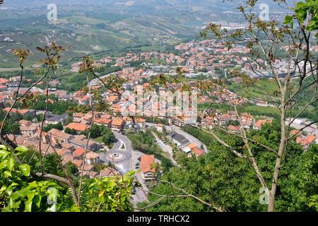 View from San Marino Citta to the surrounding area. - Stock Photo