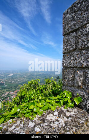 View of the castle and the surrounding area of San Marino Citta. - Stock Photo