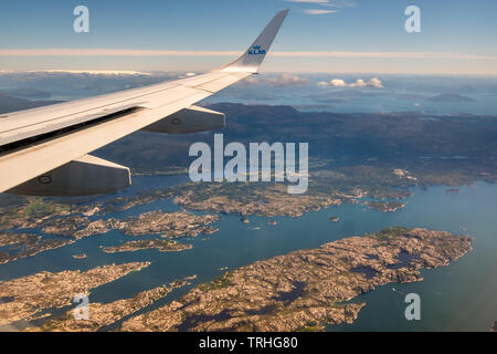 Approach to Bergen airport, view over the fjords of the fjords of Bergen, Blomsterdalen, Kokstad, Hordaland, Norway, Scandinavia, Europe, NOR, travel, - Stock Photo