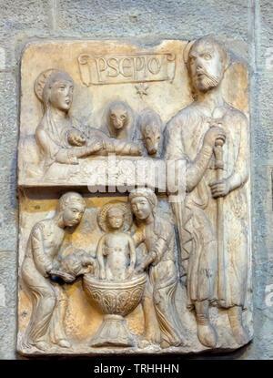 Nativity Scene, 13th century,  stone carving, Santa Maria della Pieve, Arezzo, Tuscany, Italy, Europe - Stock Photo