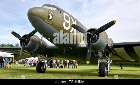 Douglas C-47 Skytrain N150D (101st Airbourne tribute) at the 2019 Shuttleworth Flying Festival to commemorate the 75th anniversary of D-Day - Stock Photo