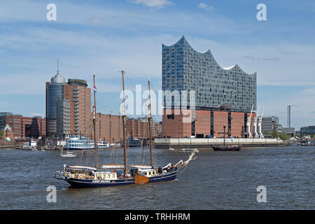 sailing ship Albert Johannes in front of Elbe Philharmonic Hall during 830. Harbour Birthday, Harbour, Hamburg, Germany - Stock Photo