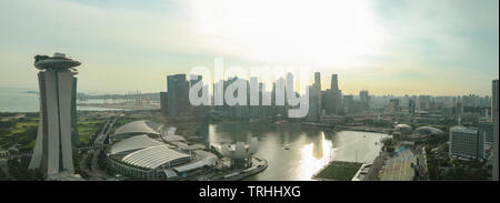 Epic panorama of the Singapore Skyline from the Flyer - Stock Photo