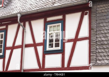 Isolated window of an half-timbered house (Bacharach, Germany, Europe) - Stock Photo