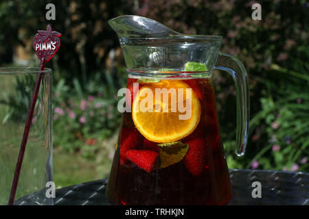 Jug of Pimms and Lemonade outside in sunshine with empty glass - Stock Photo