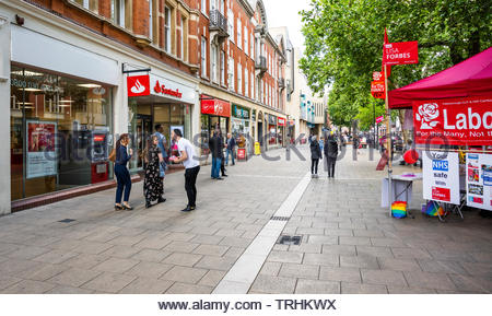 Peterborough, Cambridgeshire, UK, June 6th, 2019.  The Labour Party  campaigns in central Peterborough for the June 2019 Parliamentary by-election. Credit: Michael David Murphy / Alamy Live News - Stock Photo