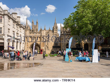 Peterborough, Cambridgeshire, UK, June 6th, 2019. The Brexit Party campaign for the June 2019 Parliamentary by-election beside the Renew Party in Cathedral Square, Peterborough. Credit: Michael David Murphy / Alamy Live News - Stock Photo
