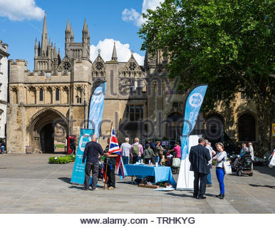Peterborough, Cambridgeshire, UK, June 6th, 2019. The Brexit Party campaign for the June 2019 Parliamentary by-election in Cathedral Square, Peterborough. Credit: Michael David Murphy / Alamy Live News - Stock Photo