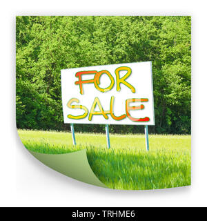 Billboard informs that the land is free to be sold - concept image - Stock Photo