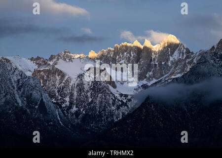 Dramatic light on Mt. Whitney near Lone Pine, California just below Mt. Whitney in the Eastern Sierra's. - Stock Photo
