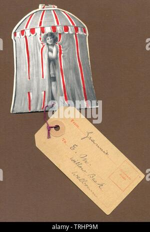 Edwardian novelty die cut postcard - Stock Photo