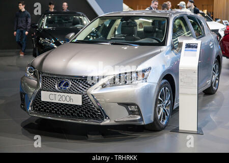 Barcelona, Spain - May 19, 2019: Lexus CT 200h showcased at Automobile Barcelona 2019. - Stock Photo