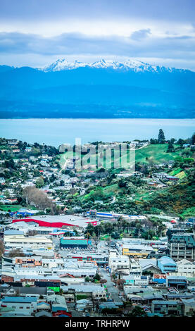 View of Nelson and Mount Arthur, New Zealand, South Island - Stock Photo