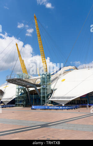 London, UK - May 1, 2018: Stairs to the path on the roof of the O2 Arena in North Greenwich Peninsula - Stock Photo