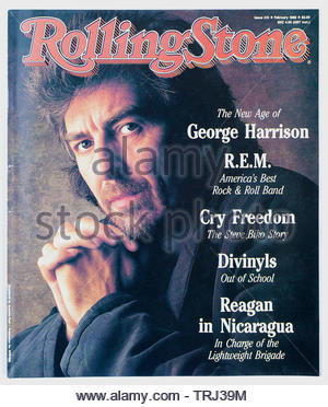 The cover of Rolling Stone magazine, issue 415, February 1988,  featuring George Harrison - Stock Photo