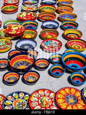 Beautiful coloured bowls, hand painted and hand made from Cuenca Spain. - Stock Photo