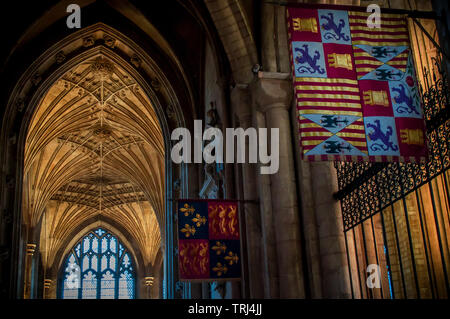 Flags, arches and vaulted ceilings in Peterborough Cathedral - Stock Photo