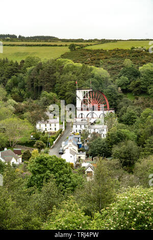 The Great Laxey Wheel (Lady Isabella), water wheel, Laxey, Isle of Man, UK - Stock Photo