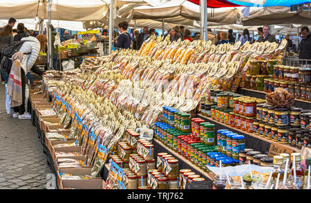 Rome, Italy, February 2017: dozens of different types of pasta on sale at a stand in the historic Campo de Fiori market in Rome - Stock Photo