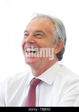 Former UK Prime Minister Tony Blair reacts during a conference at Regent's University in London June 6, 2019. - Stock Photo
