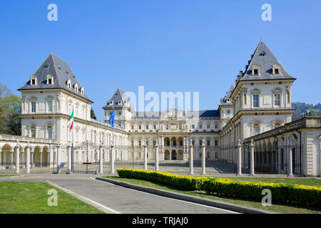 TURIN, ITALY - MARCH 31, 2019: Valentino castle in a sunny day, clear blue sky in Piedmont, Turin, Italy. - Stock Photo