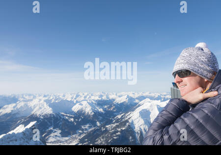 Germany's most beautiful ski resort, Zugspitze glacier ski resort, Bavaria, Germany - Stock Photo