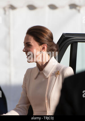 Horse Guards Parade, London, UK. 6th June 2019. HRH The Duchess of Cambridge attends the annual Beating Retreat military music spectacular. - Stock Photo