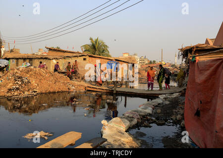 The highly polluted Hazaribagh tannery area in Dhaka, Bangladesh.  Dhaka, Bangladesh - Stock Photo