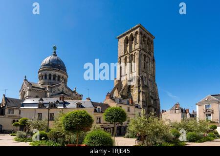 Tours city, Charlemagne Tower and Basilique Saint Martin built to pay tribute to Saint Martin, Indre et Loire, Centre Val Loire, France - Stock Photo