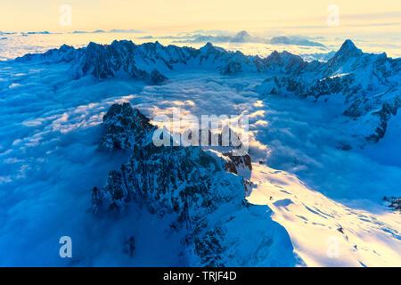 Grandes Jorasses, Aiguille du Grepon, Aiguille Verte, Mont Dolent, Dent du Geant, Mont Blanc, Chamonix, Haute Savoie, France - Stock Photo