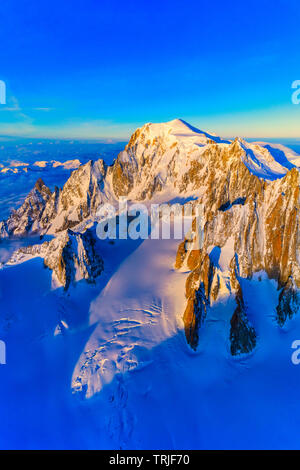 Aerial view of the majestic Mont Blanc covered with snow, Chamonix, Haute Savoie, France - Stock Photo