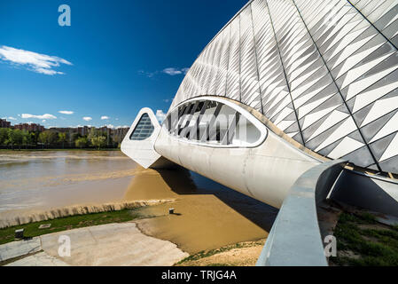 Bridge Pavilion at Expozaragoza designed by Zaha Hadid, Saragossa, Aragon, Spain - Stock Photo