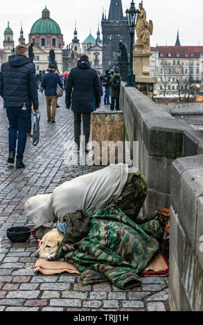 Homeless on the streets of Prague - Stock Photo