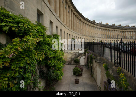 Bath Somerset England UK. June 2019 The Royal Crescent. The Royal Crescent is a row of 30 terraced houses laid out in a sweeping crescent in the city - Stock Photo