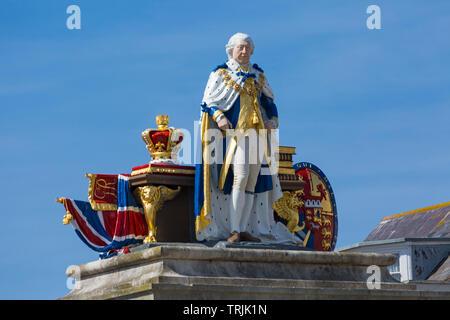 Statue of King George III, King George 3rd, in Weymouth, Dorset UK in  June - Stock Photo