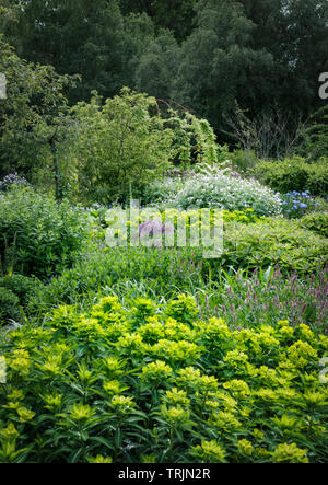 English Walled Garden at Middleton Lodge  near Middleton Tyas in North Yorkshire - Stock Photo