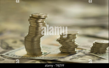 Coins Stack on the one hundred dollars banknotes. Financial growth concept. concept of strategy of profit or benefit making in business. - Stock Photo