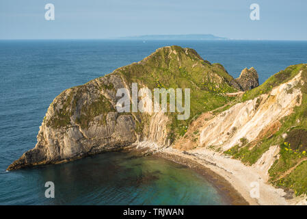 Stunning scenery looking down at The Man O War Bay next to Durdle door on the Jurassic Coast of Dorset. England, UK. - Stock Photo