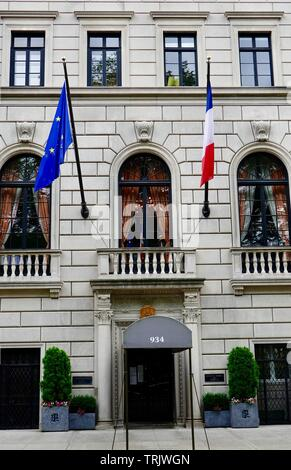 European Union and French flag fly in front of the Consulat Général de France, French Consulate, Fifth Avenue, New York, NY, USA.