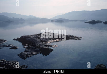 Still waters of Loch Nan Uamh, West Highlands, Scotland - Stock Photo