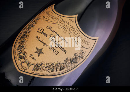 Tambov, Russian Federation - August 14, 2018 Close-up of Bottle of Champagne Dom Perignon Vintage 2005. Black background. - Stock Photo