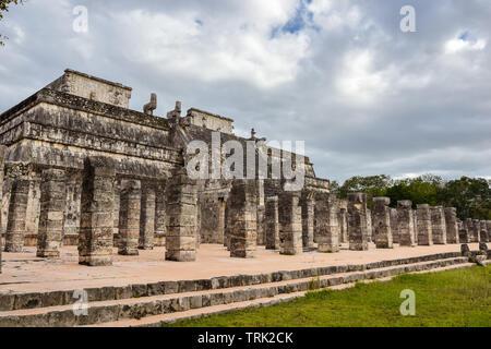 Temple of the Warriors (Templo de los Guerreros) - Chichen Itza, Mexico - Stock Photo