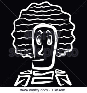 strange man with an unusual lush hairstyle - Stock Photo