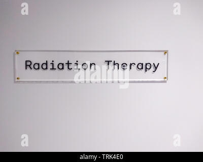 Radiotherapy Department , clear glass sign in a Australian hospital - Stock Photo